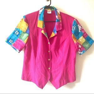 Vintage 90s Pink Buttonup Shirt Sz 16 Gold Buttons